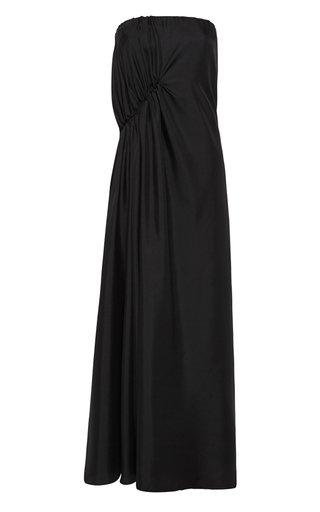 Gathered Strapless Silk Dress