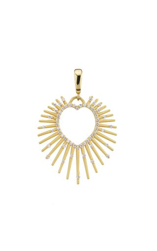 18K Yellow Gold Halo Heart Charm