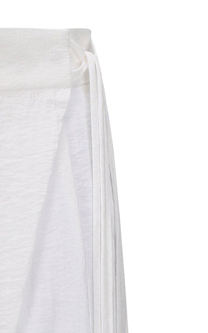 Wrap-Effect Wide-Leg Pants