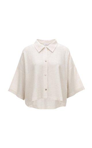 Linen-Cotton Cropped Shirt