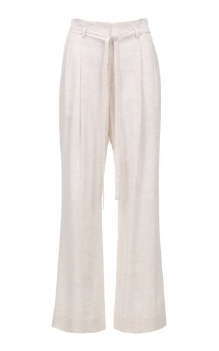 Belted Pleated Linen-Cotton Wide-Leg Pants