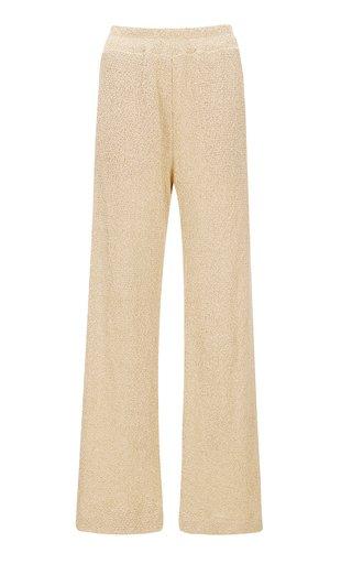 Easy Textured Wide-Leg Pants