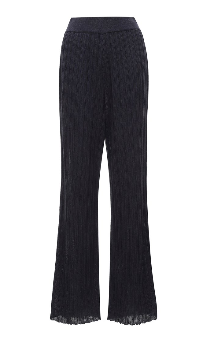 Wrinkle-Knit Cotton-Blend Flared Pants