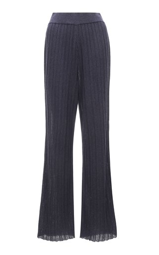 Wrinkle-Knit Cotton-Blend Flared Pants