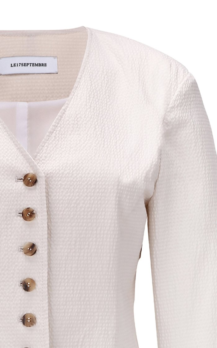 Button-Front Cotton-Blend Blazer