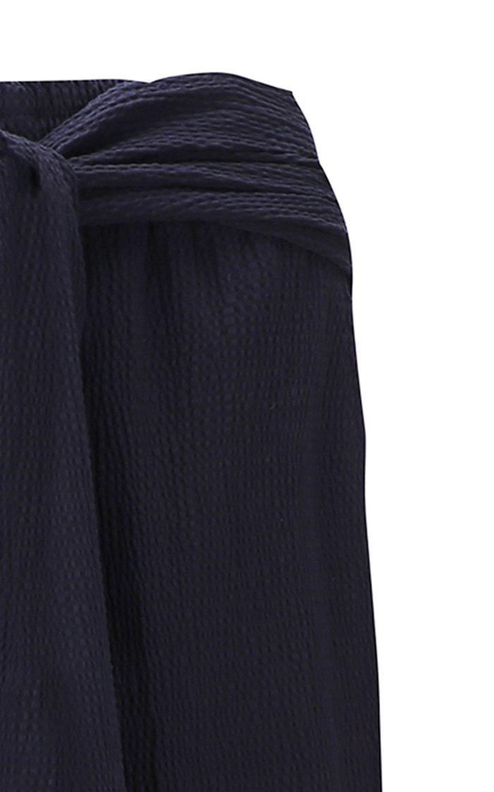 Easy Wrap-Effect Cotton-Blend Wide-Leg Pants