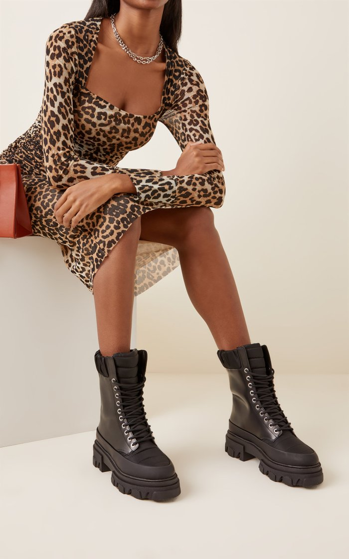 Ruffled Leather Combat Boots