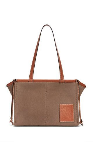 Cushion Leather-Trimmed Canvas Tote Bag