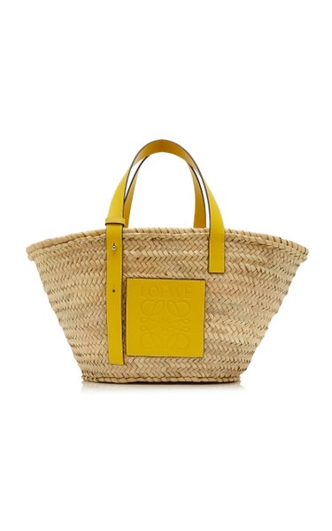 Small Raffia and Leather Basket Bag