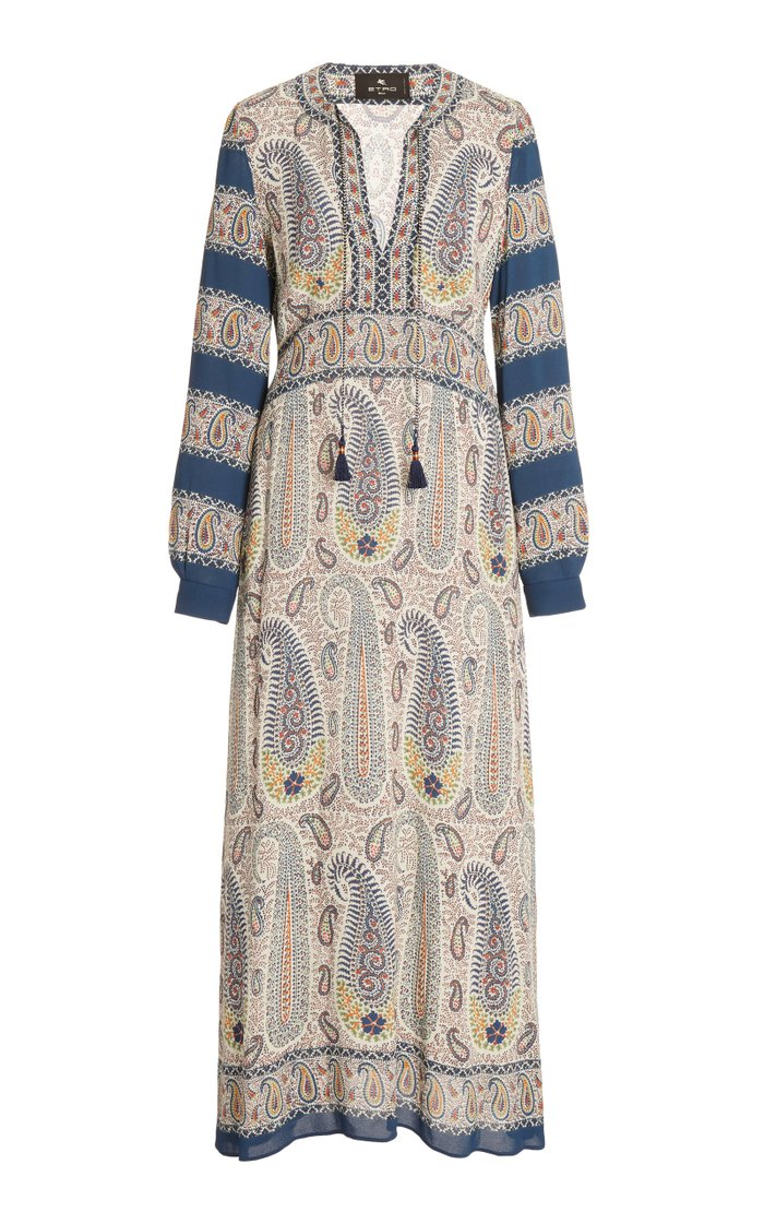 Paisley-Print Crepe Midi Dress