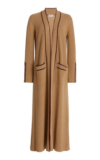 Contrast-Tipped Ribbed-Knit Long Cardigan