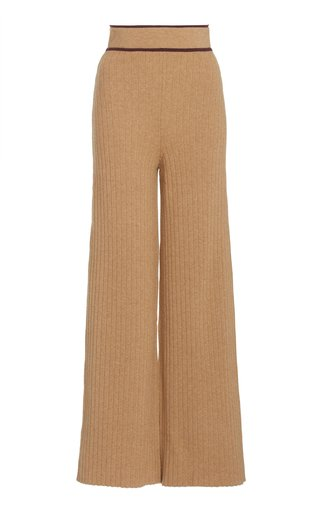 Contrast-Tipped Ribbed-Knit Wide-Leg Pants