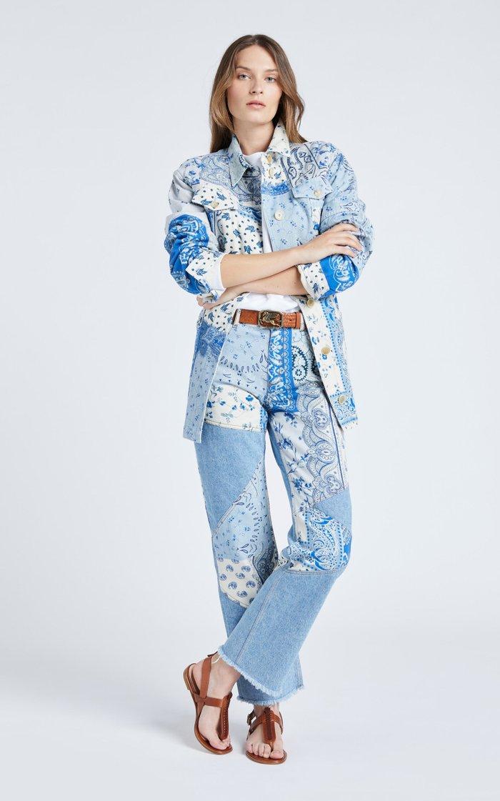 Belted Printed Denim Jacket