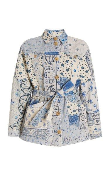 Belted Patchwork Denim Jacket