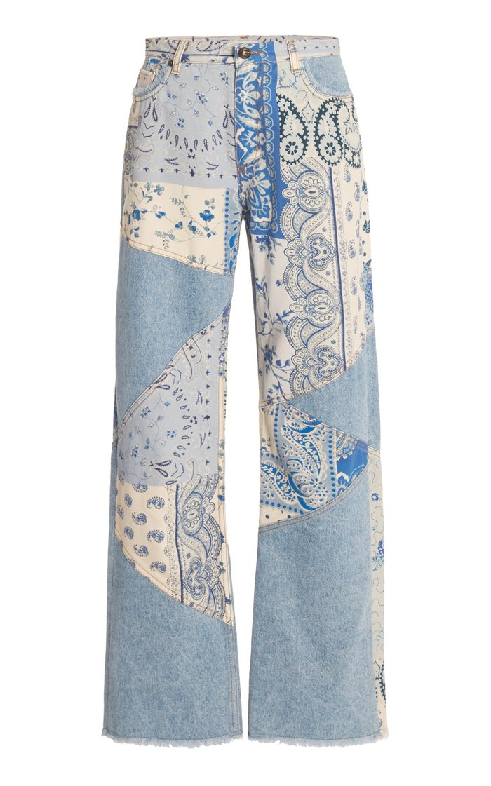 Raw-Edge Paisley Stretch High-Rise Straight-Leg Jeans
