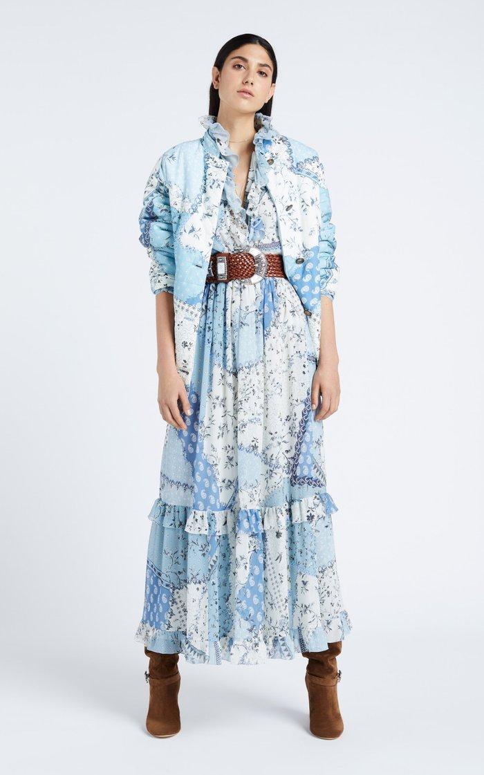 Ruffle-Trimmed Printed Silk Maxi Dress