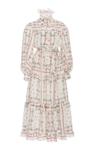 Ruffled Floral Silk Midi Dress