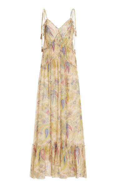 Pleated Paisley-Printed Silk Gown