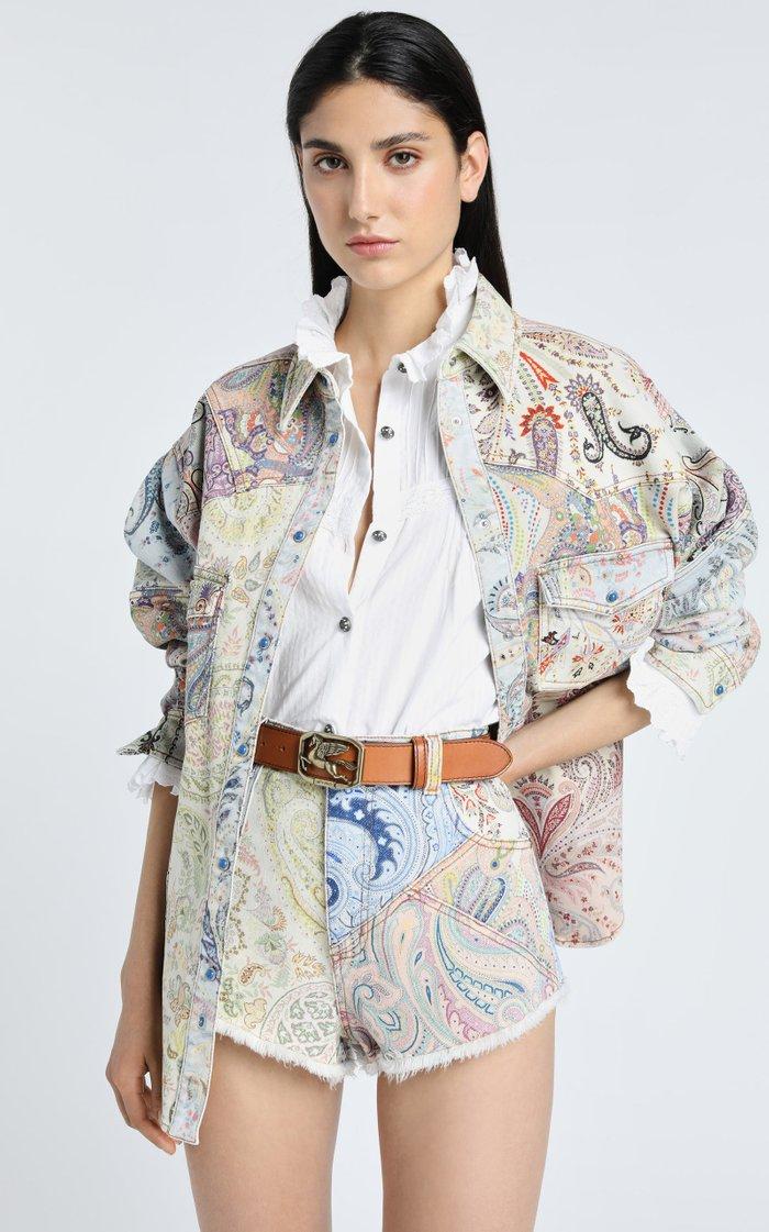 Paisley-Printed Denim Jacket