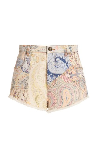 Paisley-Printed Denim Shorts
