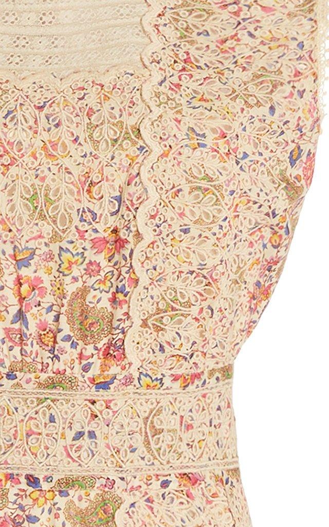 Floral Broderie-Cotton Maxi Dress