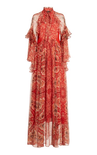 Paisley Ruffled Silk-Georgette Maxi Dress
