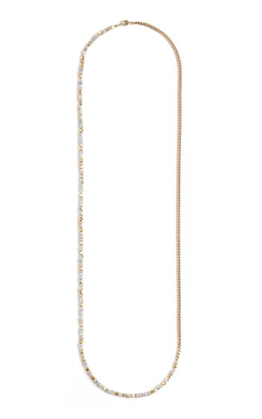 18K Gold White Sapphire Necklace
