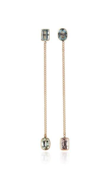 Curb Chain 18K Gold, Aquamarine and Morganite Earrings
