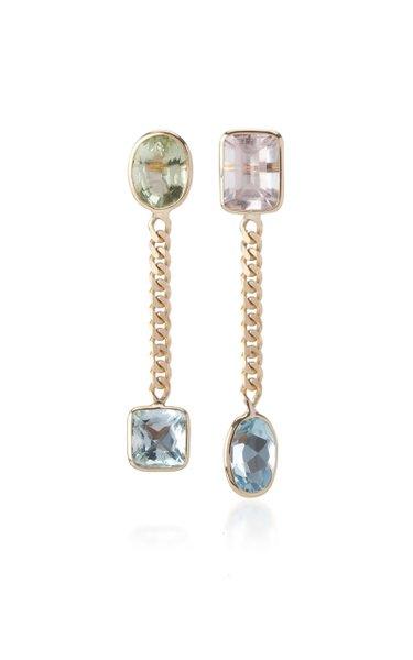 Curb Chian Aquamarine and Morganite Earrings