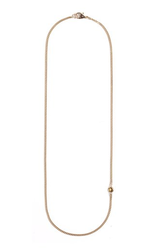 Curb Chain 18K Gold Sapphire Necklace