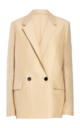 Wool-Blend Double-Breasted Single Button Blazer