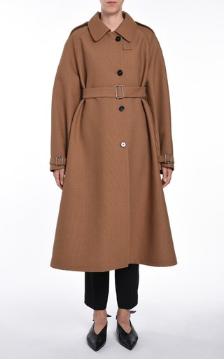 Wool-Cotton Blend A-Line Trench Coat