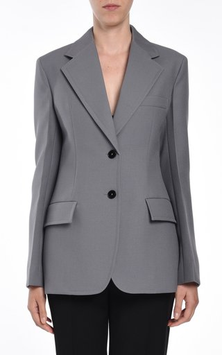 Fitted Wool Single-Breasted Blazer
