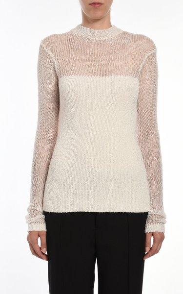 Mesh High-Neck Sweater