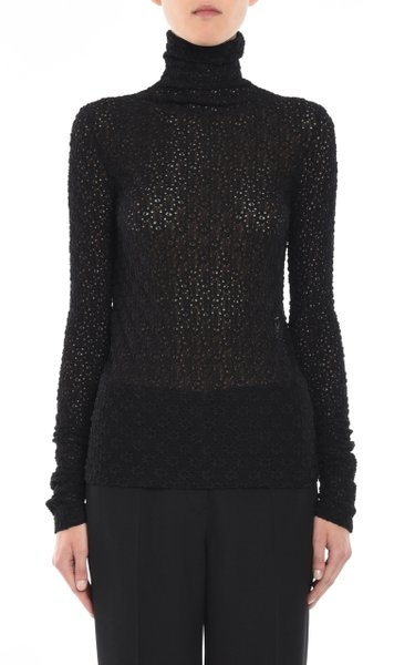Cotton-Blend Fitted Lace Long Sleeve Top