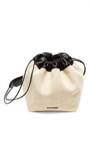 Small Leather-Trimmed Canvas Drawstring Bag