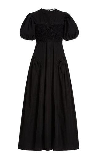 Clementine Puffed-Sleeve Cotton-Blend Maxi Dress
