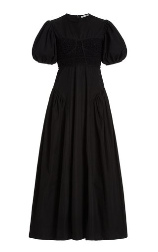 Clementine Puffed-Sleeve Cotton-Blend Maxi Dress