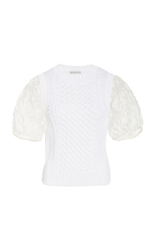 Faye Organza-Detailed Knit Top