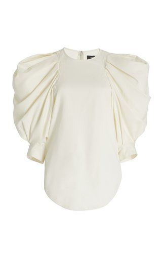 Surya Puff-Sleeve Crepe Top
