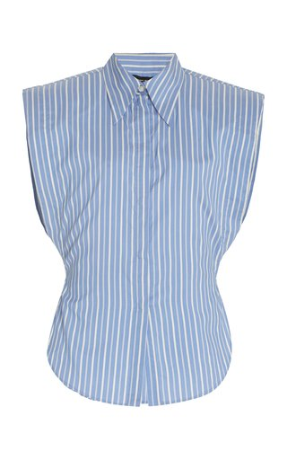 Enza Pinstriped Silk Top