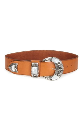 Oversized Buckle Leather Waist Belt