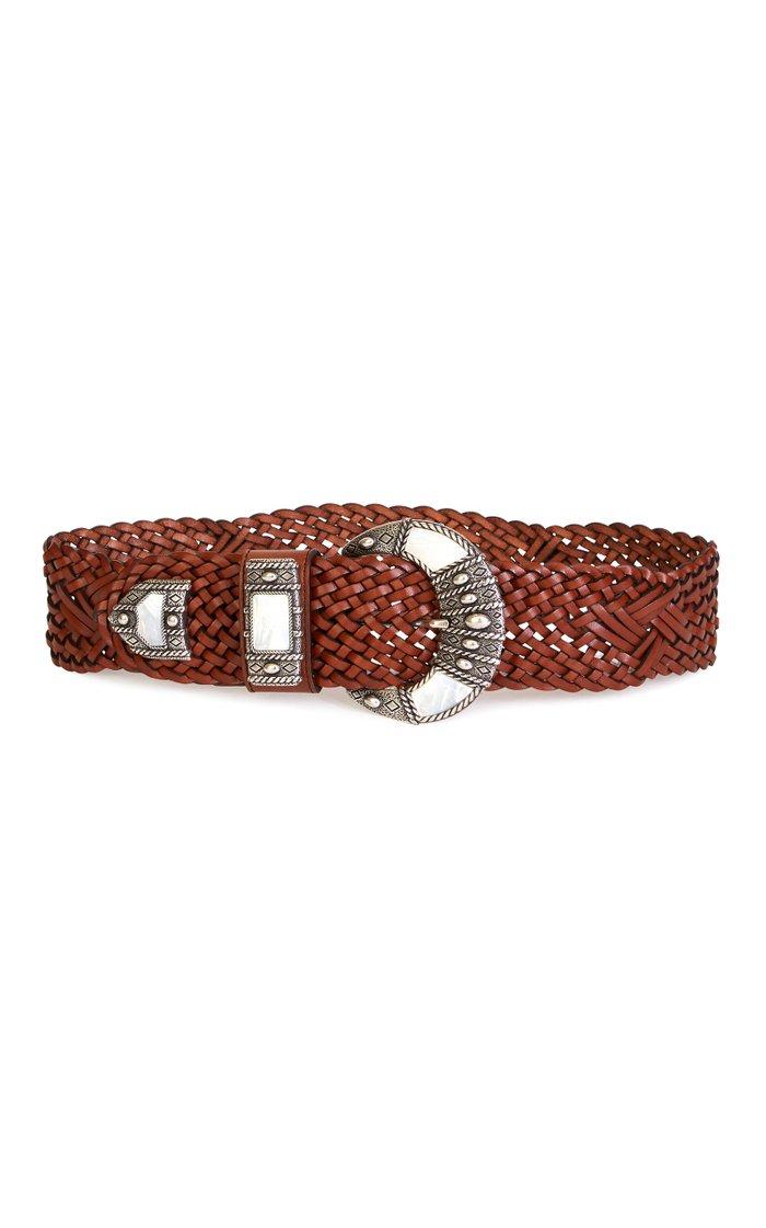 Oversized Buckle Braided Leather Waist Belt
