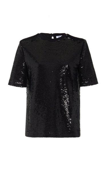 Padded-Shoulder Sequined T-Shirt