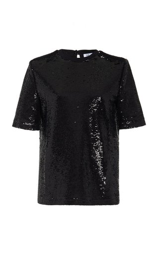 Padded-Shoulder Sequined T-Shirt