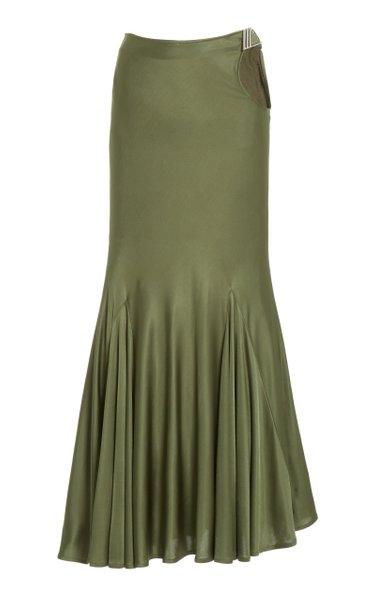Cutout Satin Midi Skirt