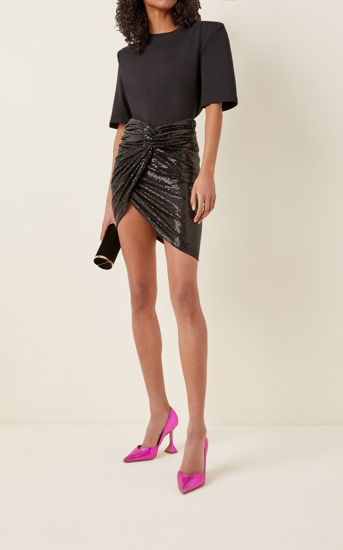 Twisted Sequined Mini Skirt