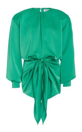 Draped Crepe De Chine Mini Dress