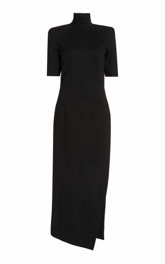 Turtleneck Jersey Maxi Dress