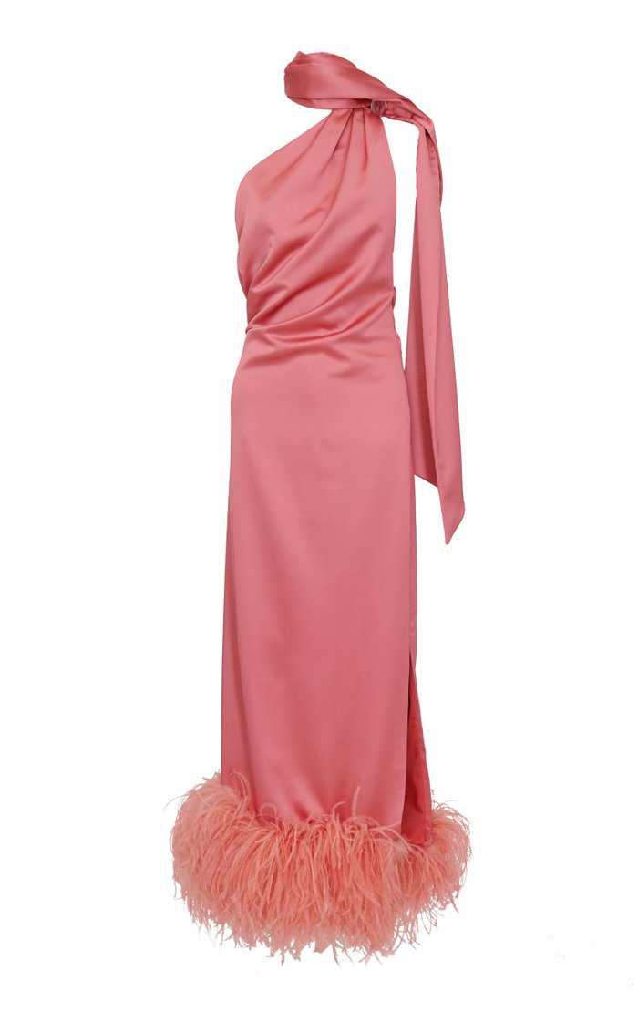 Feather-Trimmed Satin Tie-Neck Maxi Dress
